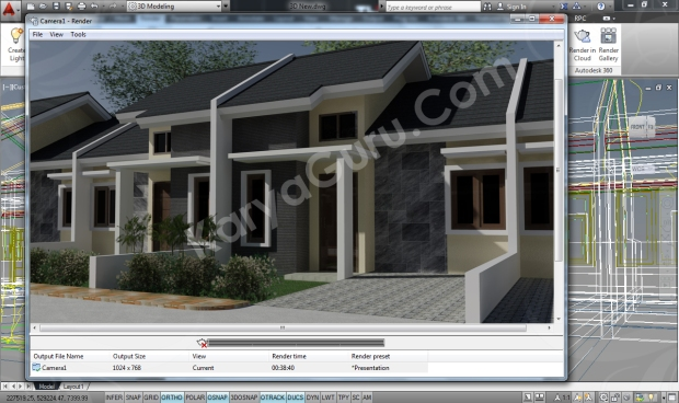 Rumah Minimalis AutoCAD Rendering Camera1