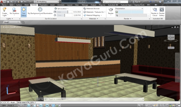 visual style realistic autocad interior design
