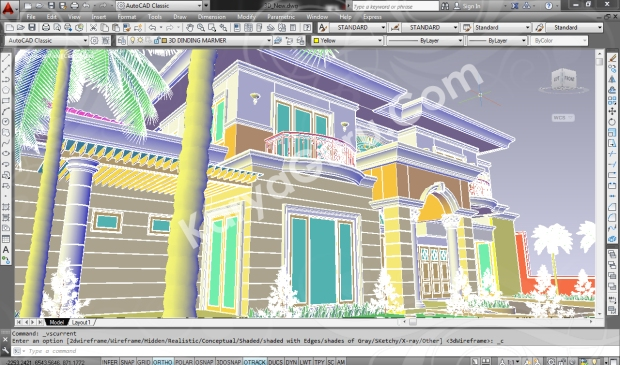 screenshot autocad 3d model rumah tinggal klasik 1