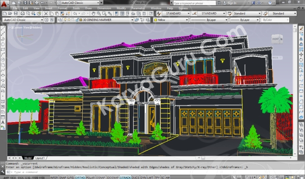 screenshot autocad 3d model rumah tinggal klasik 2