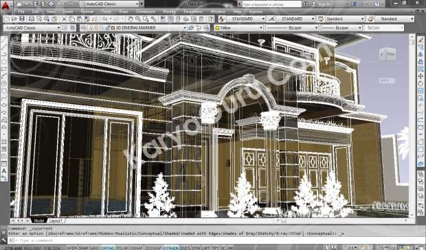 screenshot autocad 3d model rumah tinggal klasik 3