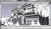 screenshot autocad 3d model rumah tinggal klasik 4