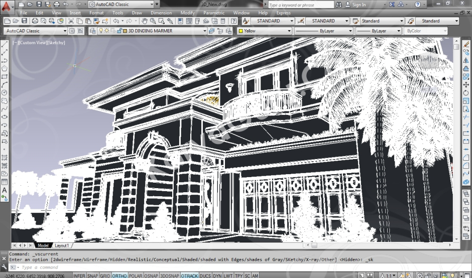 screenshot autocad 3d model rumah tinggal klasik 4