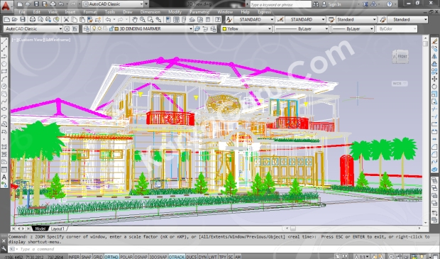 screenshot autocad 3d model rumah tinggal klasik 5