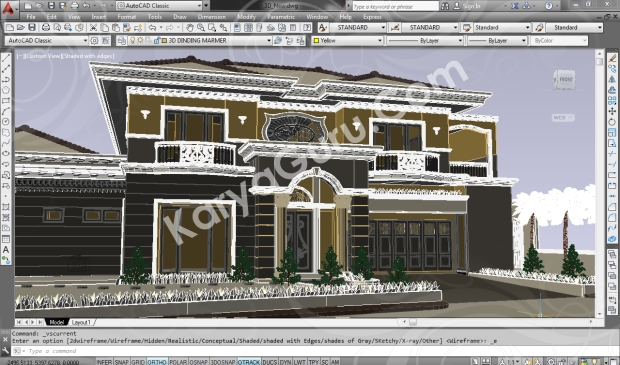 screenshot autocad 3d model rumah tinggal klasik 6