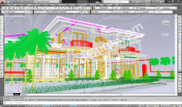 screenshot autocad 3d model rumah tinggal klasik 7
