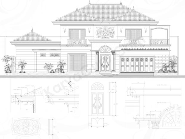 tampak dan detail rumah klasik