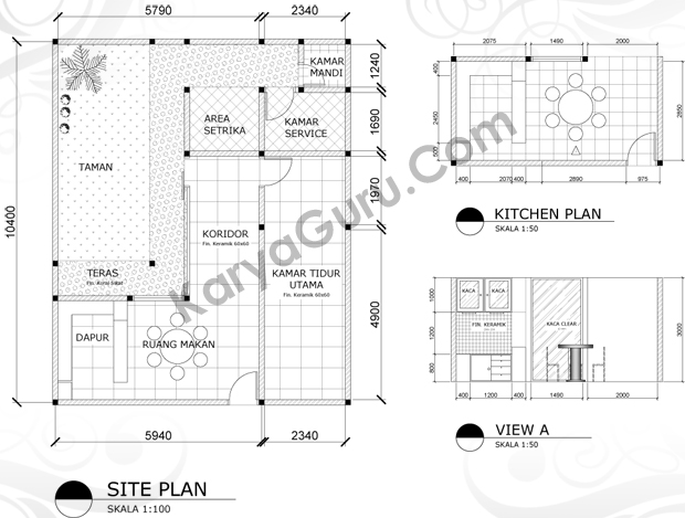 materi kursus autocad interior desain kitchen