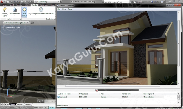 autocad 3d rendering architecture design camera 1