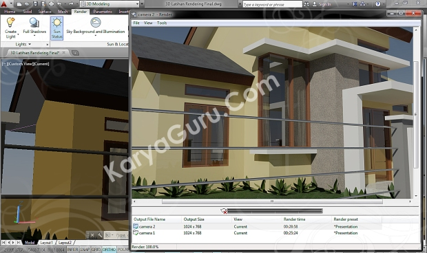 autocad 3d rendering architecture design camera 2