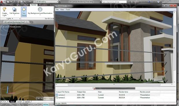 autocad 3d rendering architecture design camera 2