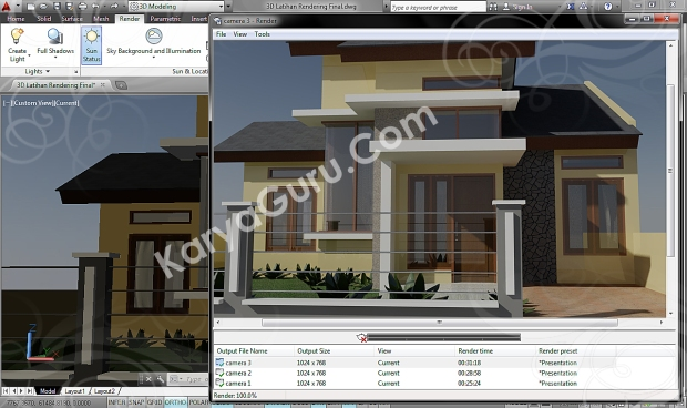 autocad 3d rendering architecture design camera 3