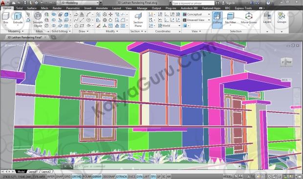kursus autocad 3d modeling rumah minimalis camera 2