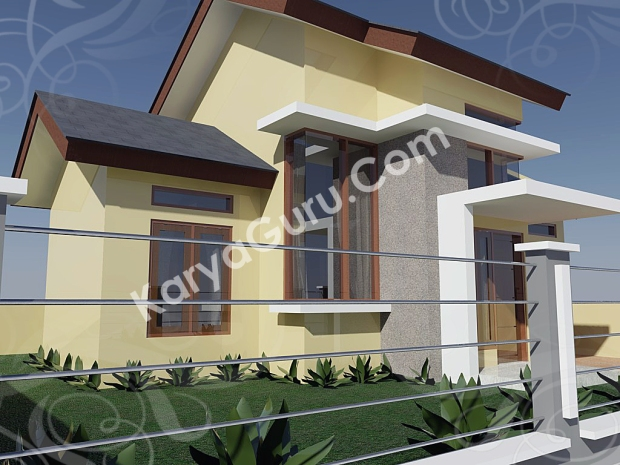 kursus autocad 3d rendering rumah minimalis camera 2