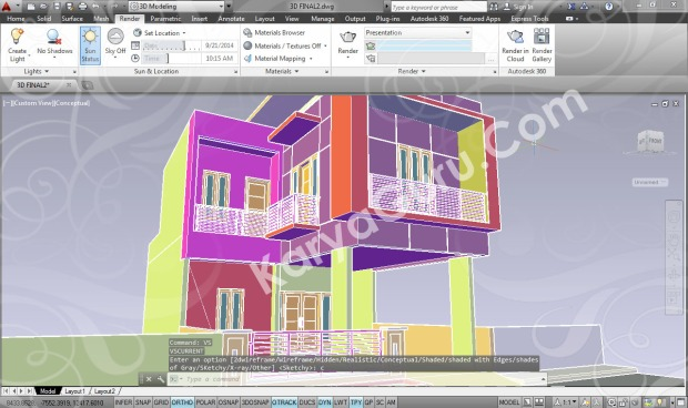 3d modeling autocad rumah minimalis 2 lantai