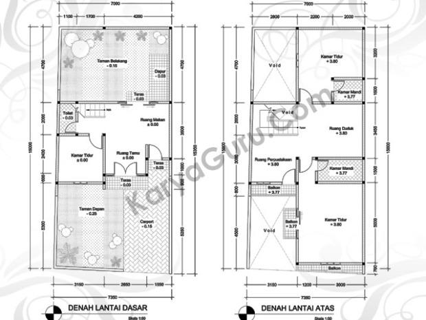 Draft Desain Rumah Tinggal 2 Lantai Karyaguru Center