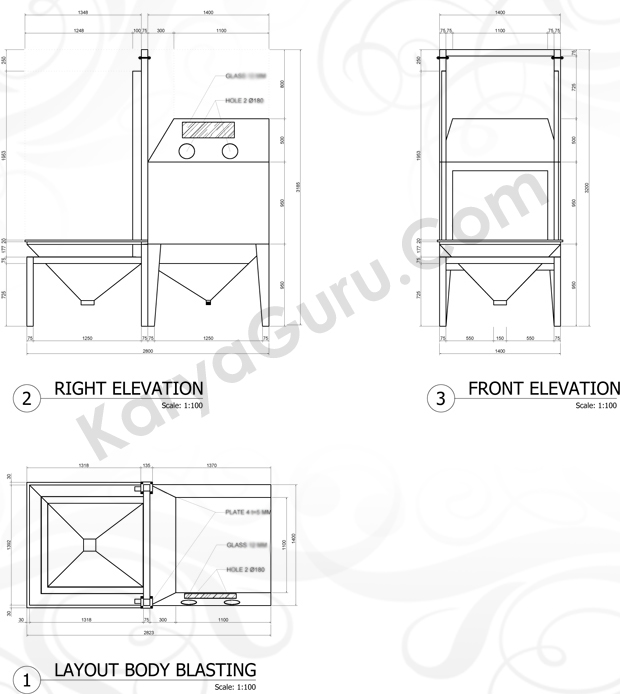 Layout Elevation Body Blasting ShopDrawing
