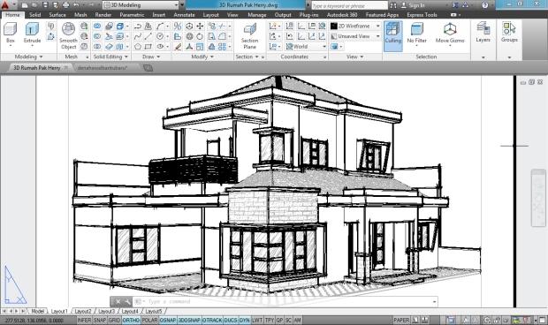 3D AutoCAD Sketchy Rumah Tinggal 2 Lantai - Camera1