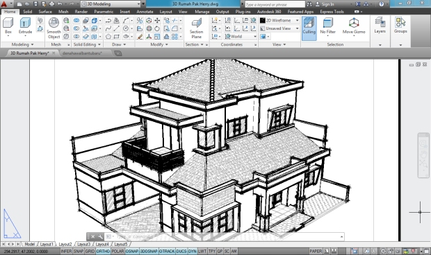 3D AutoCAD Sketchy Rumah Tinggal 2 Lantai - Camera2