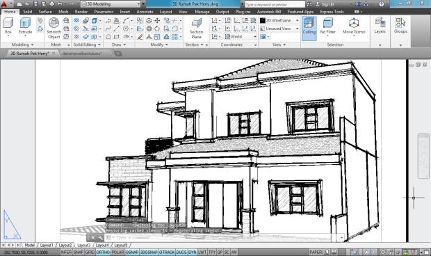3D AutoCAD Sketchy Rumah Tinggal 2 Lantai - Camera3