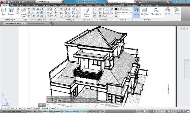 3D AutoCAD Sketchy Rumah Tinggal 2 Lantai - Camera4