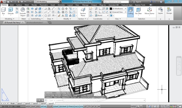 3D AutoCAD Sketchy Rumah Tinggal 2 Lantai - Camera5