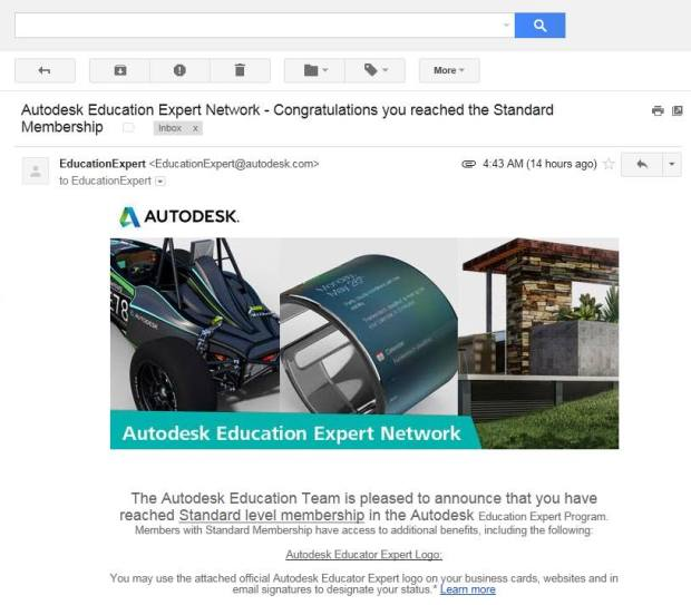 Email Autodesk Educator Expert