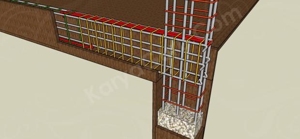 pembesian balok dan kolom lantai atas
