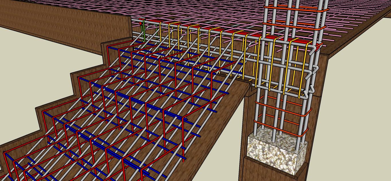 Pembesian Struktur Beton Bangunan Kolom Balok Tangga Plat