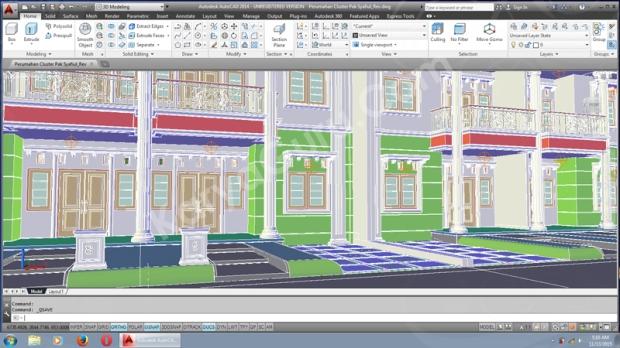 3D Modeling AutoCAD Desain Rumah 2 Lantai Cluster TownHouse Klasik