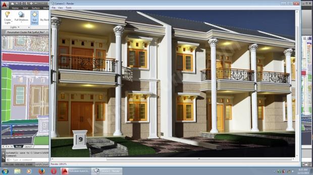 3D Render AutoCAD Desain Rumah 2 Lantai Cluster TownHouse Klasik