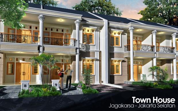 3D Render AutoCAD Photoshop Desain Rumah 2 Lantai Cluster TownHouse Klasik