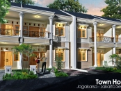 Desain TownHouse AutoCAD 3D Modeling Render + Photoshop Image Editing