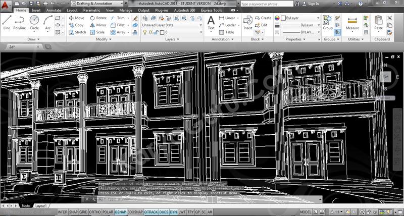 Perspective AutoCAD Desain Rumah 2 Lantai Cluster TownHouse Klasik & Desain TownHouse 2 Lantai \u2013 KARYAGURU CENTER