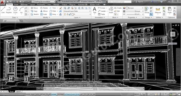 Perspective AutoCAD Desain Rumah 2 Lantai Cluster TownHouse Klasik