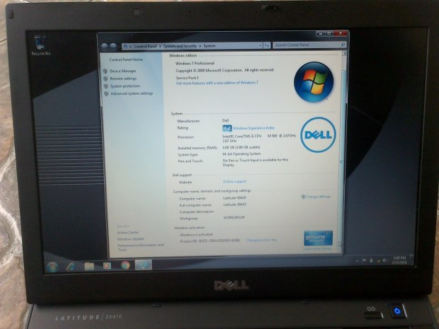 Jual Laptop Dell Latitude E6410 + Windows 7 Pro 64-bit
