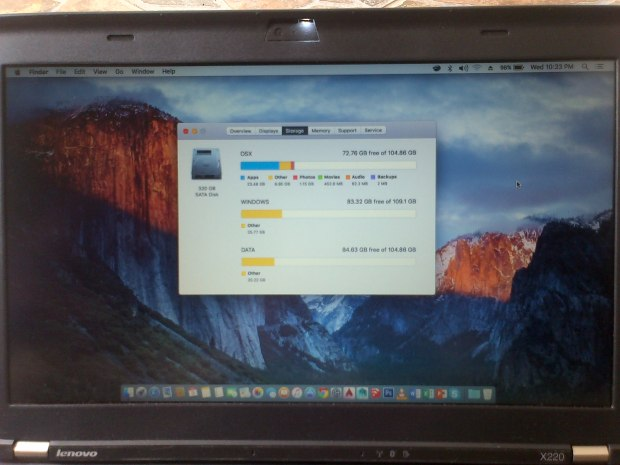 Jual Laptop Hackintosh Harddisk 320GB Partisi OSX Windows Data Lenovo Thinkpad X220