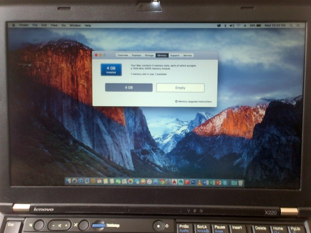Jual Netbook Hackintosh El Capitan 10.11 RAM 4GB Lenovo Thinkpad X220