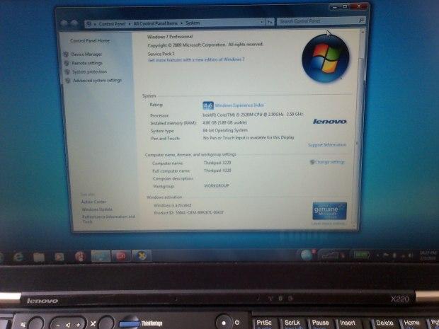 Sales Laptop DualBoot Windows OSX 10.11 Lenovo Thinkpad X220 i5 RAM 4GB HDD 320GB