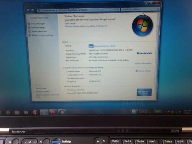 Sales Laptop DualBoot Windows OSX 10.11 Lenovo Thinkpad X220 i5 RAM 4GB HDD 320GB