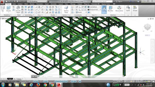 3d model autocad struktur baja cartenz