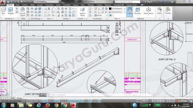detail shopdrawing autocad untuk konstruksi baja