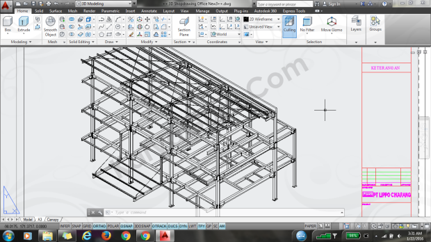 struktur baja autocad office cartenz