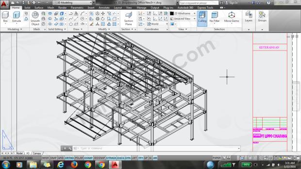 struktur baja autocad office cartenz