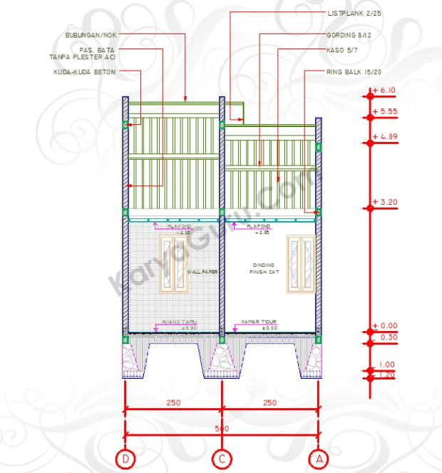 NOTASI AS DIMENSI RUANG LEVEL - Tutorial Belajar AutoCAD Gambar Kerja Potongan Rumah Tinggal ShopDrawing Section