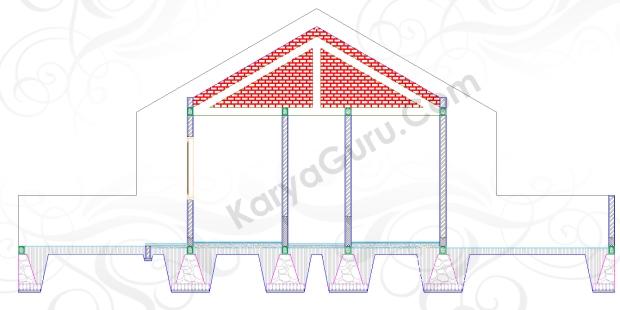 DINDING TANPA PLESTER - Tutorial Belajar AutoCAD Gambar Kerja Potongan C-C Rumah Tinggal ShopDrawing Section