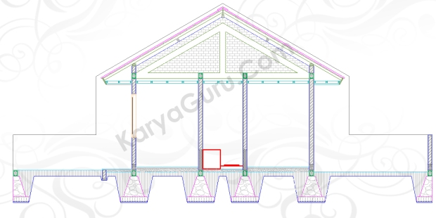 BAK AIR TOILET - Tutorial Belajar AutoCAD Gambar Kerja Potongan C-C Rumah Tinggal ShopDrawing Section