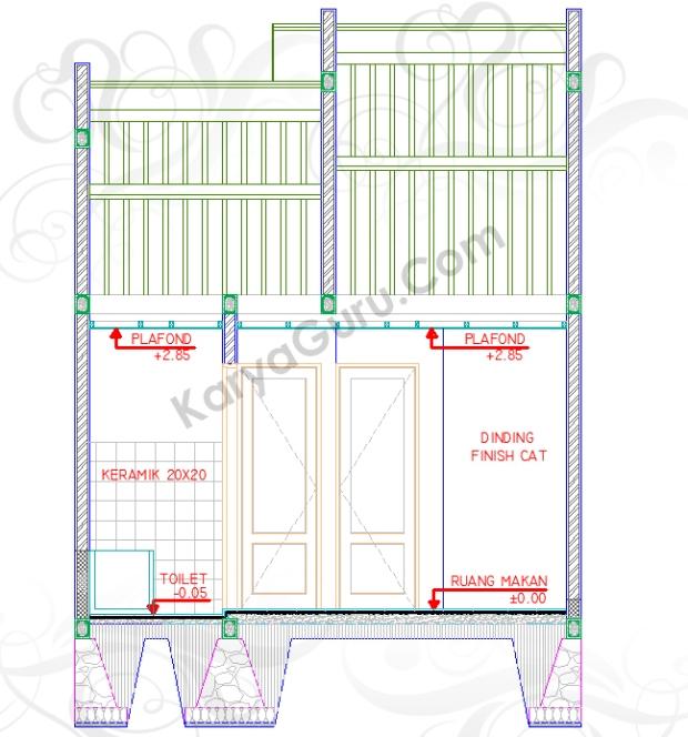 NOTASI LANTAI DINDING PLAFOND - Tutorial Belajar AutoCAD Gambar Kerja Potongan Rumah ShopDrawing Section