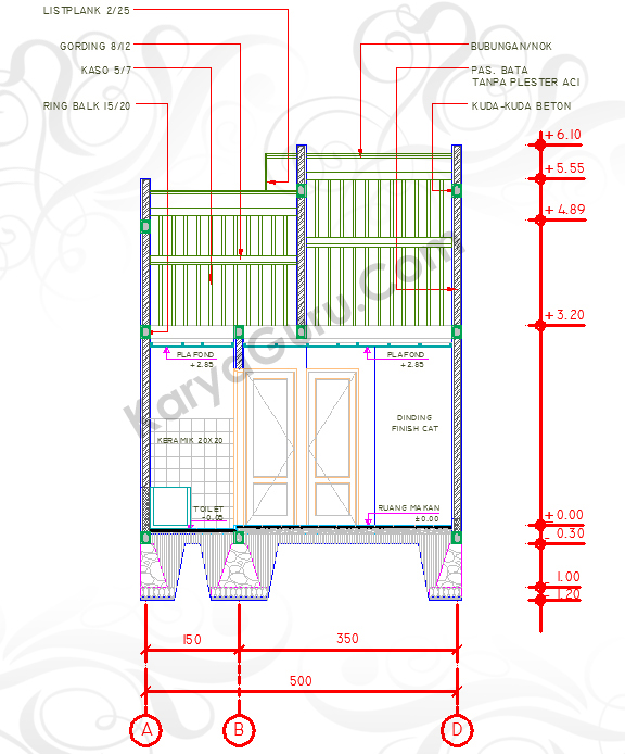 DIMENSI UKURAN LEVEL - Tutorial Belajar AutoCAD Gambar Kerja Potongan Rumah ShopDrawing Section
