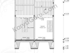 Tutorial Belajar AutoCAD Gambar Kerja Potongan B-B Rumah Tinggal ShopDrawing Section